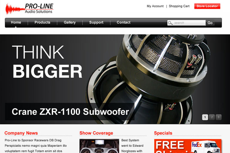 Proline Audio website design
